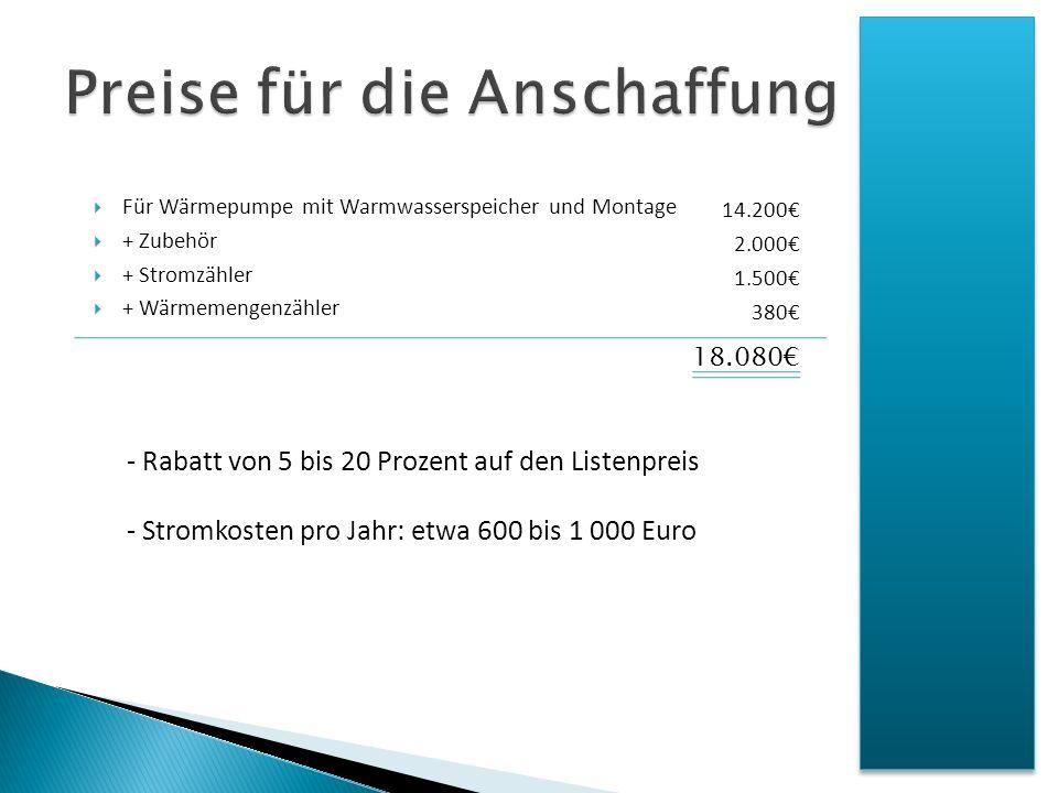 Für Wärmepumpe mit Warmwasserspeicher und Montage + Zubehör + Stromzähler + Wärmemengenzähler 14.200 2.000 1.500 380 18.080 - Rabatt von 5 bis 20 Proz
