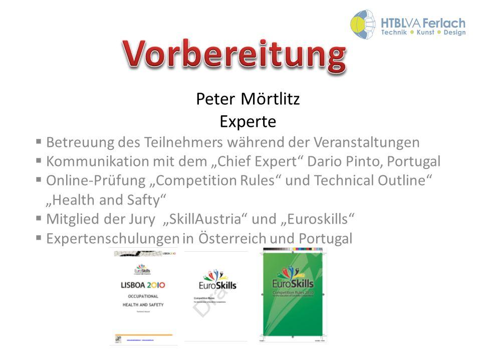 Peter Mörtlitz Experte Betreuung des Teilnehmers während der Veranstaltungen Kommunikation mit dem Chief Expert Dario Pinto, Portugal Online-Prüfung C