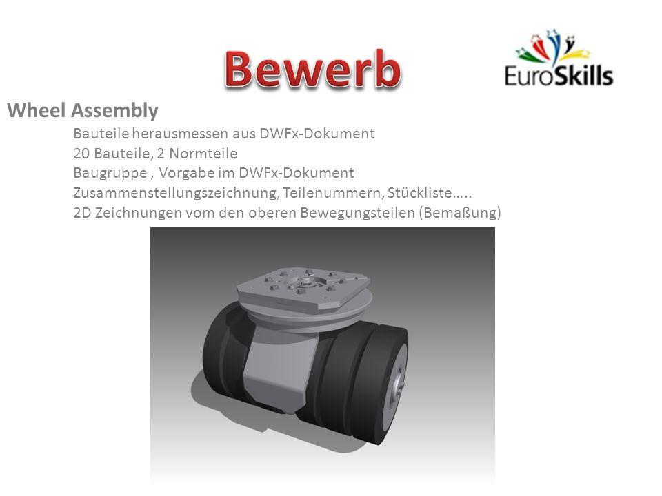 Wheel Assembly Bauteile herausmessen aus DWFx-Dokument 20 Bauteile, 2 Normteile Baugruppe, Vorgabe im DWFx-Dokument Zusammenstellungszeichnung, Teilenummern, Stückliste…..