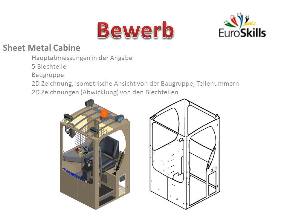 Sheet Metal Cabine Hauptabmessungen in der Angabe 5 Blechteile Baugruppe 2D Zeichnung, isometrische Ansicht von der Baugruppe, Teilenummern 2D Zeichnungen (Abwicklung) von den Blechteilen