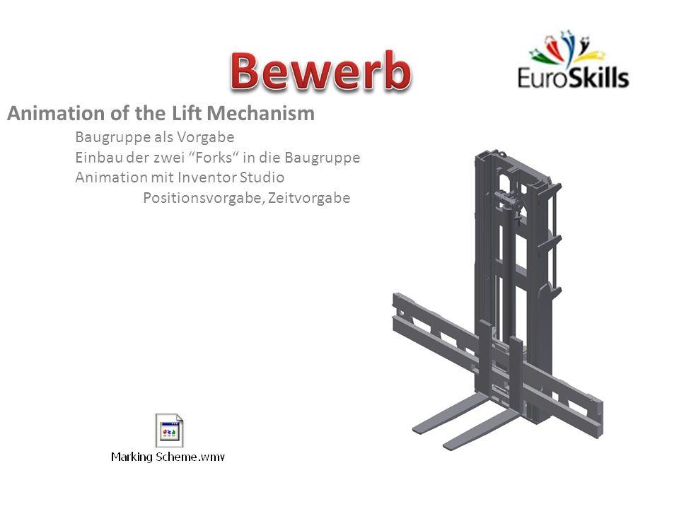 Animation of the Lift Mechanism Baugruppe als Vorgabe Einbau der zwei Forks in die Baugruppe Animation mit Inventor Studio Positionsvorgabe, Zeitvorga