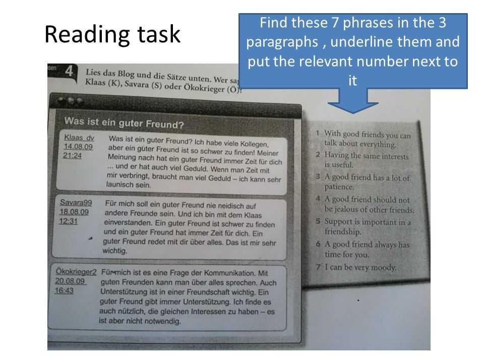 Reading task Find these 7 phrases in the 3 paragraphs, underline them and put the relevant number next to it