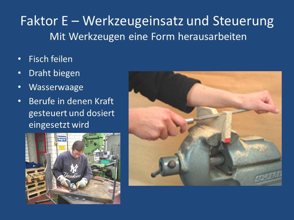 Faktor E – Werkzeugeinsatz und Steuerung Mit Werkzeugen eine Form herausarbeiten Fisch feilen Draht biegen Wasserwaage Berufe in denen Kraft gesteuert und dosiert eingesetzt wird