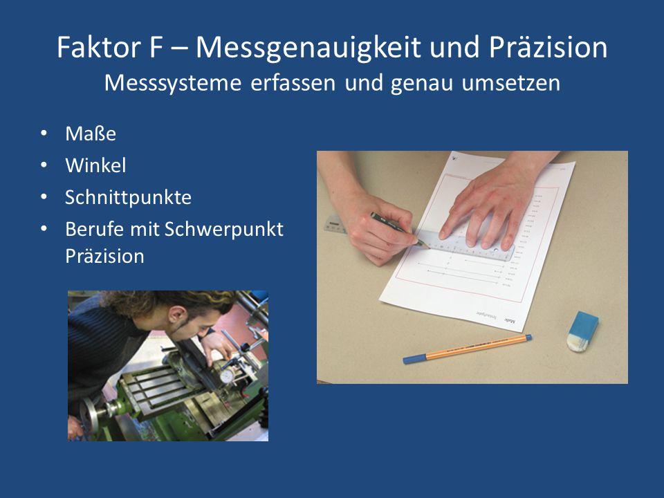 Faktor F – Messgenauigkeit und Präzision Messsysteme erfassen und genau umsetzen Maße Winkel Schnittpunkte Berufe mit Schwerpunkt Präzision