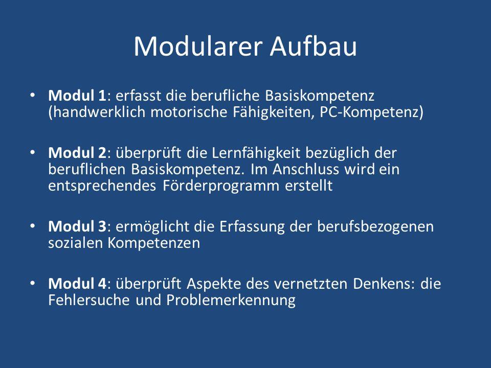 Modularer Aufbau Modul 1: erfasst die berufliche Basiskompetenz (handwerklich motorische Fähigkeiten, PC-Kompetenz) Modul 2: überprüft die Lernfähigkeit bezüglich der beruflichen Basiskompetenz.