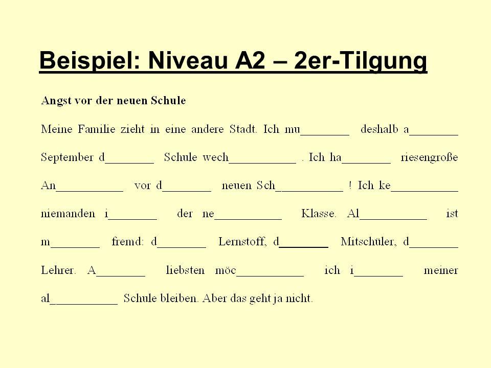 Beispiel: Niveau A2 – 2er-Tilgung