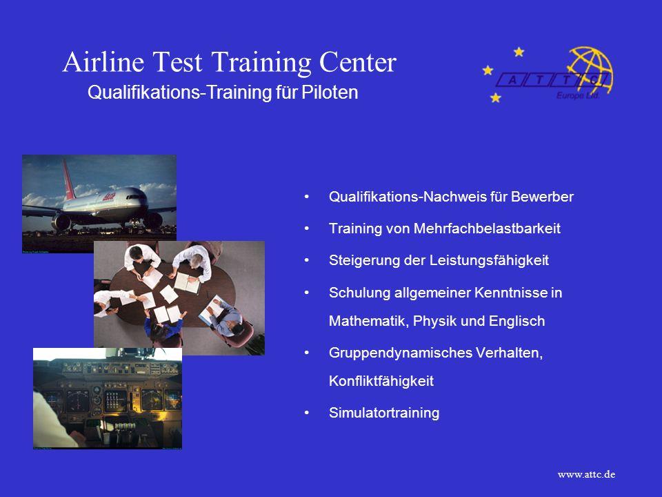 Airline Test Training Center Optionen auf dem Arbeitsmarkt Karriere - Möglichkeiten Alternativen bei der Berufswahl Anerkennung ausländischer Scheine Upgrading von Lizenzen Unterstützung bei Bewerbungen Career - Center www.attc.de
