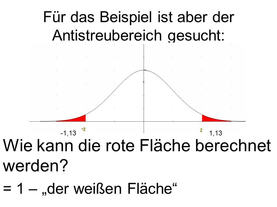 Für das Beispiel ist aber der Antistreubereich gesucht: -1,131,13 Wie kann die rote Fläche berechnet werden? = 1 – der weißen Fläche