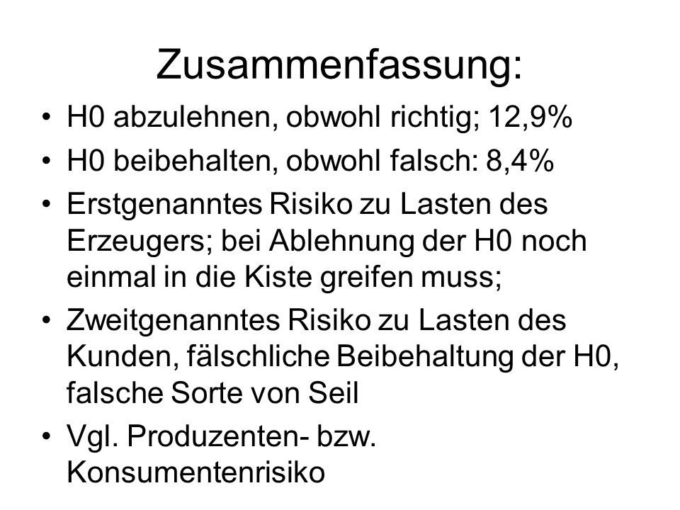 Zusammenfassung: H0 abzulehnen, obwohl richtig; 12,9% H0 beibehalten, obwohl falsch: 8,4% Erstgenanntes Risiko zu Lasten des Erzeugers; bei Ablehnung
