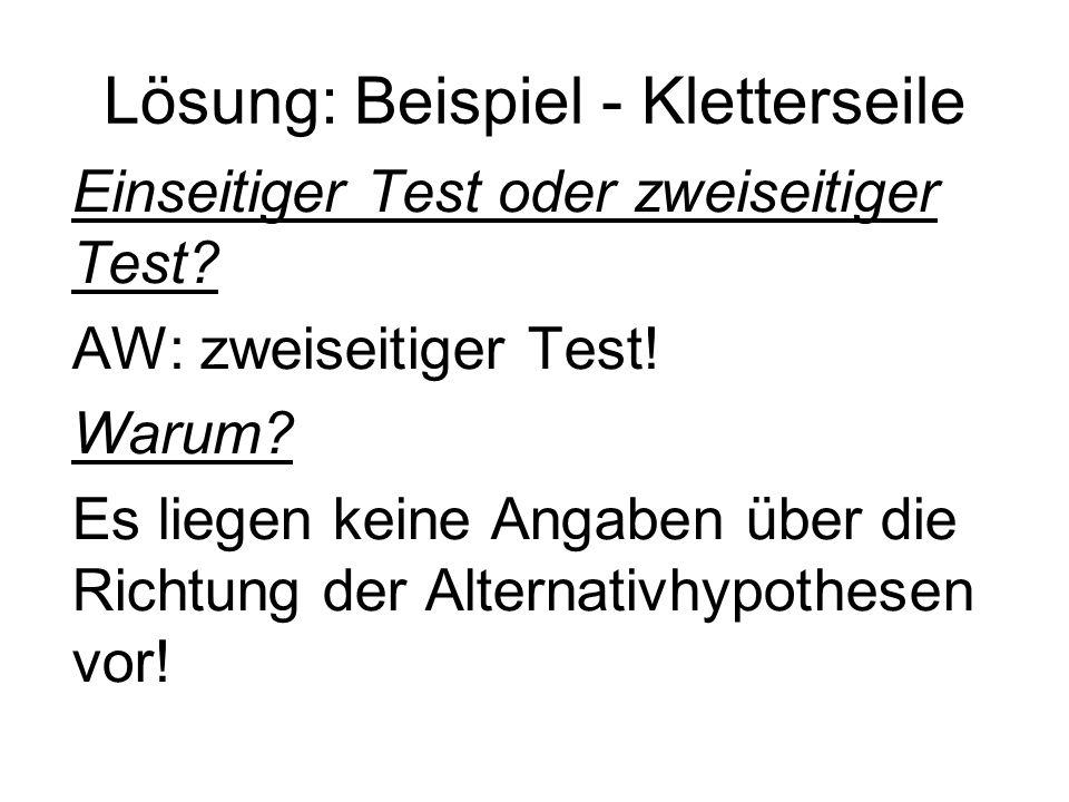 Lösung: Beispiel - Kletterseile Einseitiger Test oder zweiseitiger Test? AW: zweiseitiger Test! Warum? Es liegen keine Angaben über die Richtung der A