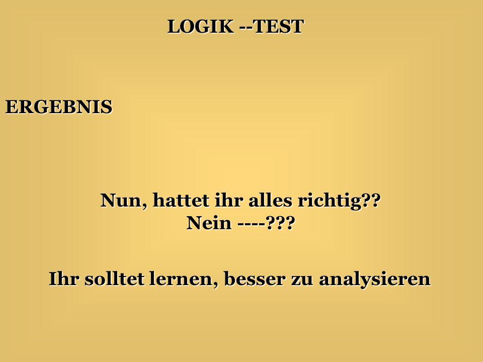 LOGIK --TEST Antwort auf die 4. Frage Keine, wenn sie eine Geheimnummer haben, stehen sie nicht im Telefonbuch..