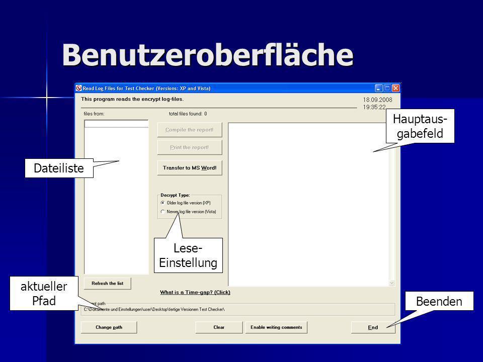 Benutzeroberfläche Hauptaus- gabefeld Dateiliste aktueller Pfad Lese- Einstellung Beenden