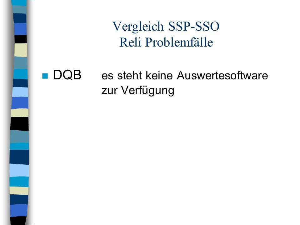 Vergleich SSP-SSO Reli Problemfälle n DQB es steht keine Auswertesoftware zur Verfügung