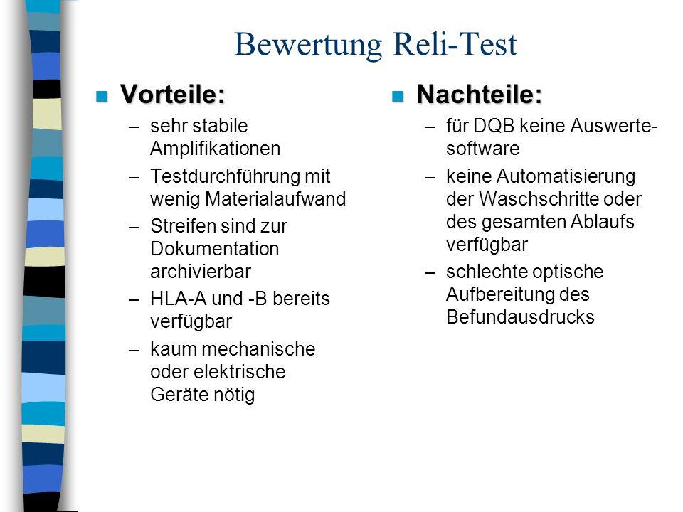 Bewertung Reli-Test n Vorteile: –sehr stabile Amplifikationen –Testdurchführung mit wenig Materialaufwand –Streifen sind zur Dokumentation archivierba