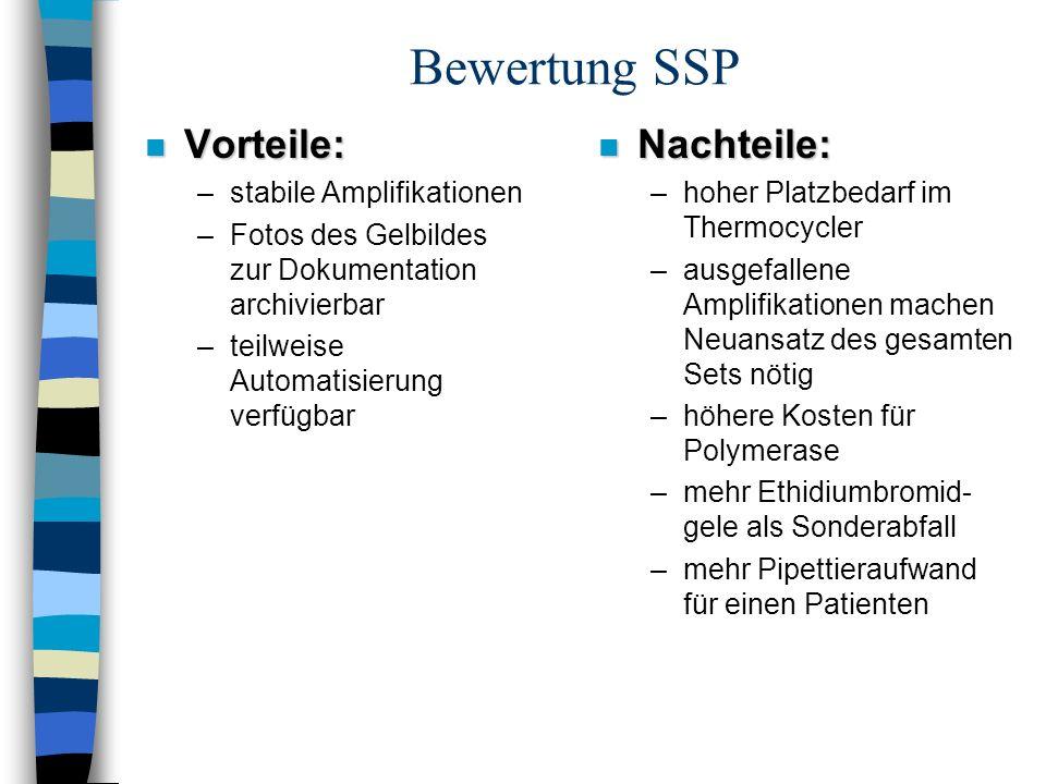 Bewertung SSP n Vorteile: –stabile Amplifikationen –Fotos des Gelbildes zur Dokumentation archivierbar –teilweise Automatisierung verfügbar n Nachteil