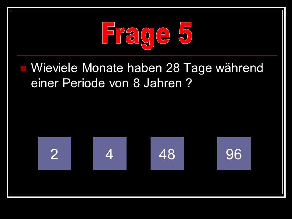 Wieviele Monate haben 28 Tage während einer Periode von 8 Jahren ? 249648