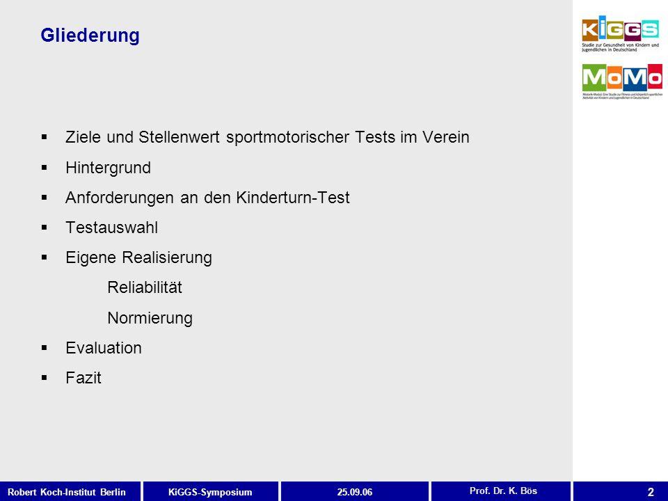 2 KiGGS-SymposiumRobert Koch-Institut Berlin25.09.06 Gliederung Ziele und Stellenwert sportmotorischer Tests im Verein Hintergrund Anforderungen an de