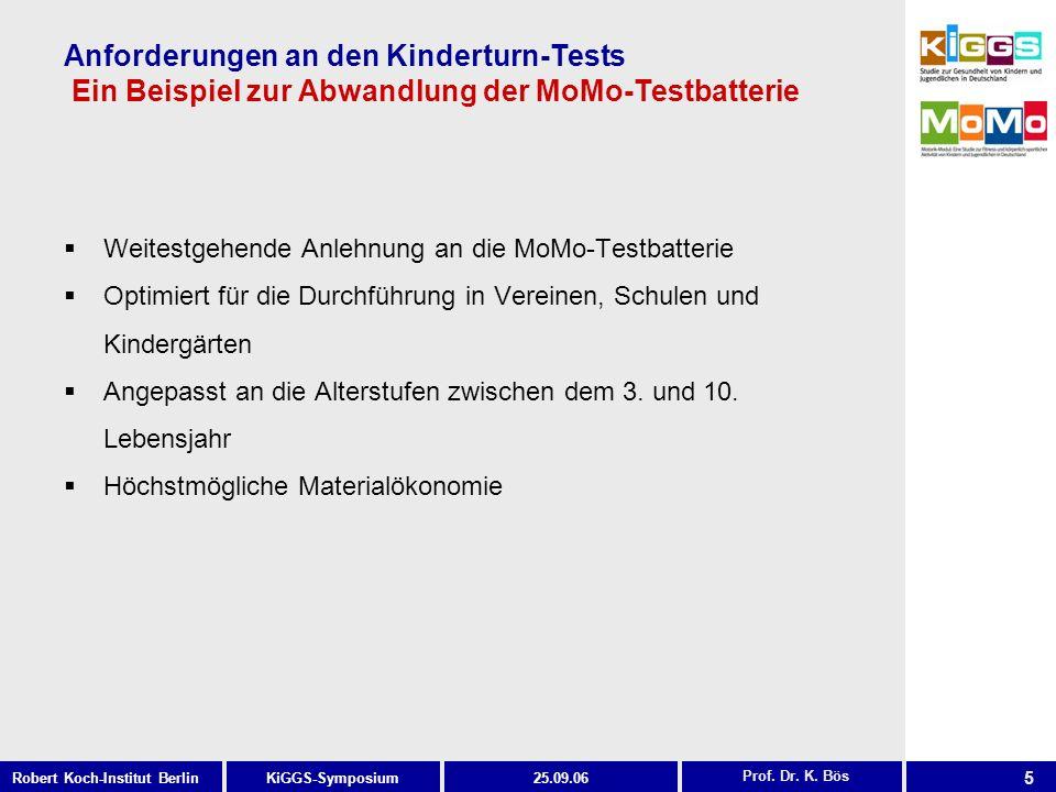 5 KiGGS-SymposiumRobert Koch-Institut Berlin25.09.06 Anforderungen an den Kinderturn-Tests Ein Beispiel zur Abwandlung der MoMo-Testbatterie Weitestge