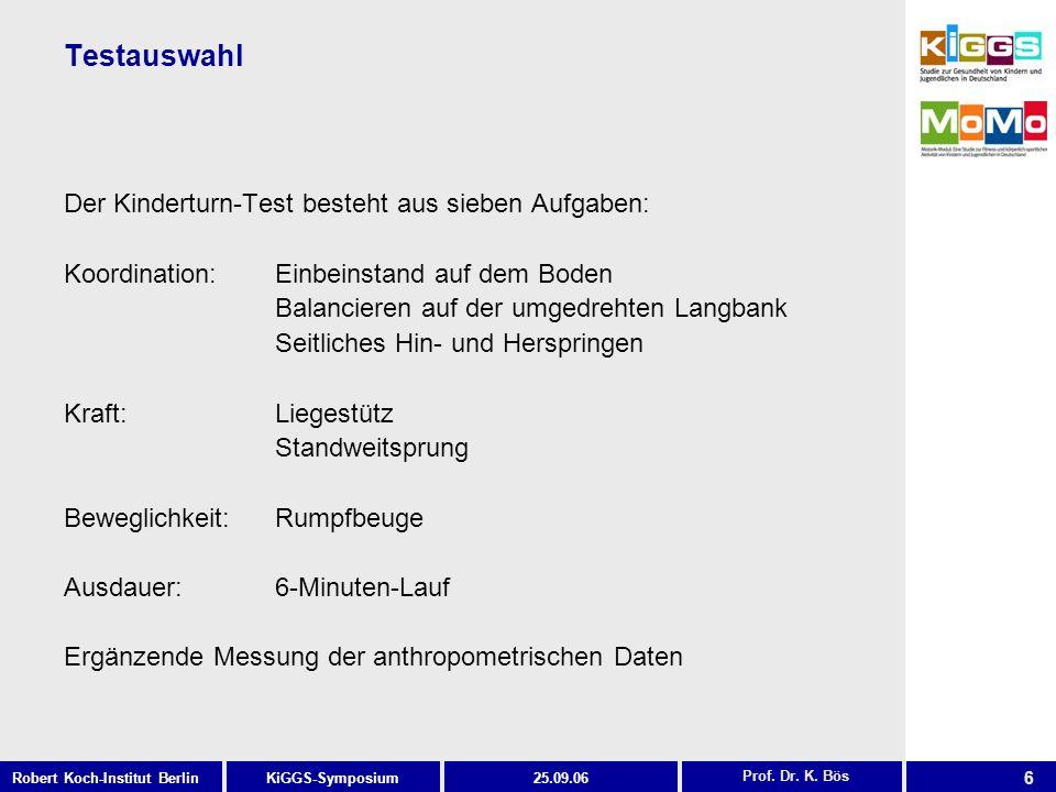 6 KiGGS-SymposiumRobert Koch-Institut Berlin25.09.06 Testauswahl Der Kinderturn-Test besteht aus sieben Aufgaben: Koordination: Einbeinstand auf dem B