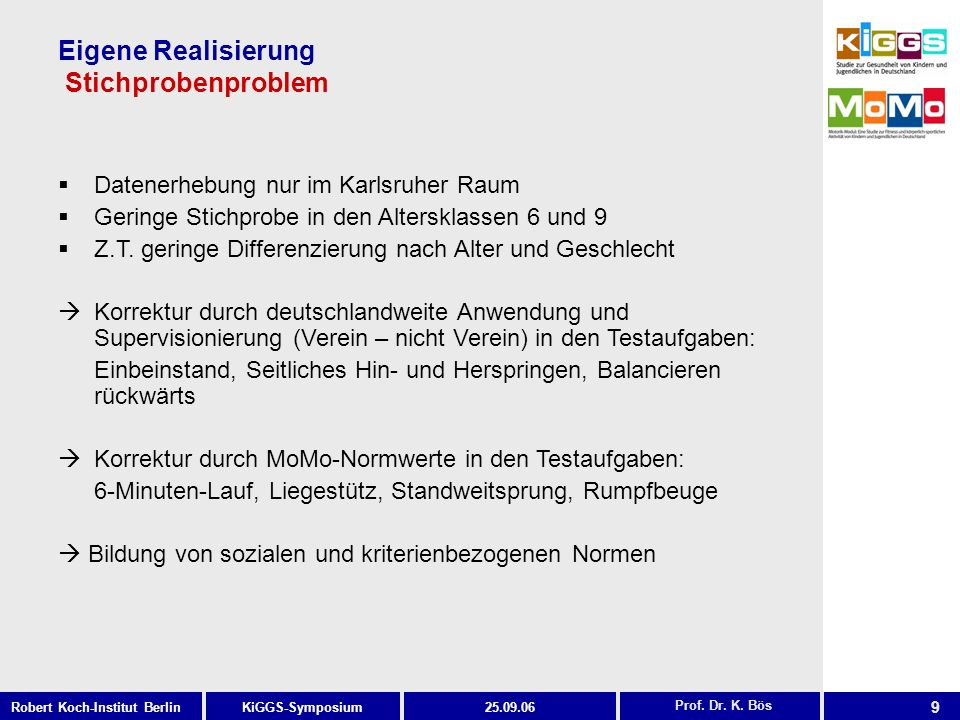 9 KiGGS-SymposiumRobert Koch-Institut Berlin25.09.06 Eigene Realisierung Stichprobenproblem Prof. Dr. K. Bös Datenerhebung nur im Karlsruher Raum Geri