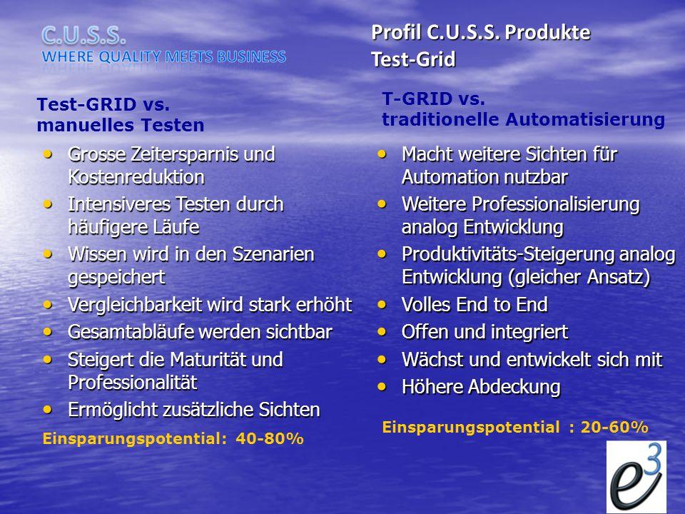 Test-Grid Test-GRID vs. manuelles Testen T-GRID vs. traditionelle Automatisierung Grosse Zeitersparnis und Kostenreduktion Grosse Zeitersparnis und Ko