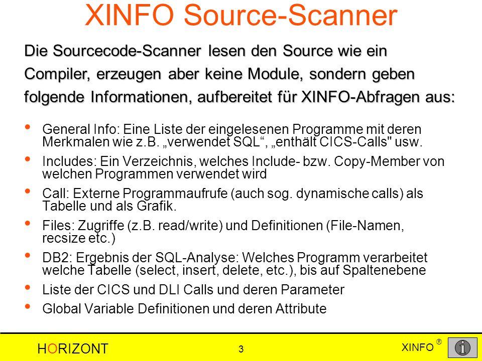 HORIZONT 3 XINFO ® XINFO Source-Scanner General Info: Eine Liste der eingelesenen Programme mit deren Merkmalen wie z.B.