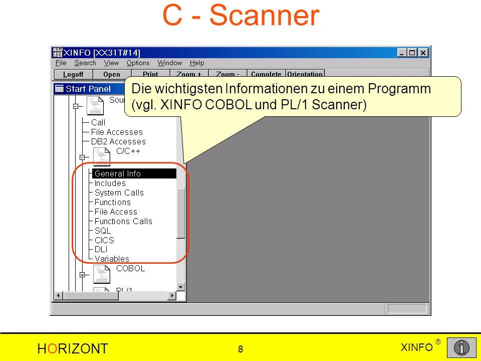 HORIZONT 8 XINFO ® C - Scanner Die wichtigsten Informationen zu einem Programm (vgl.
