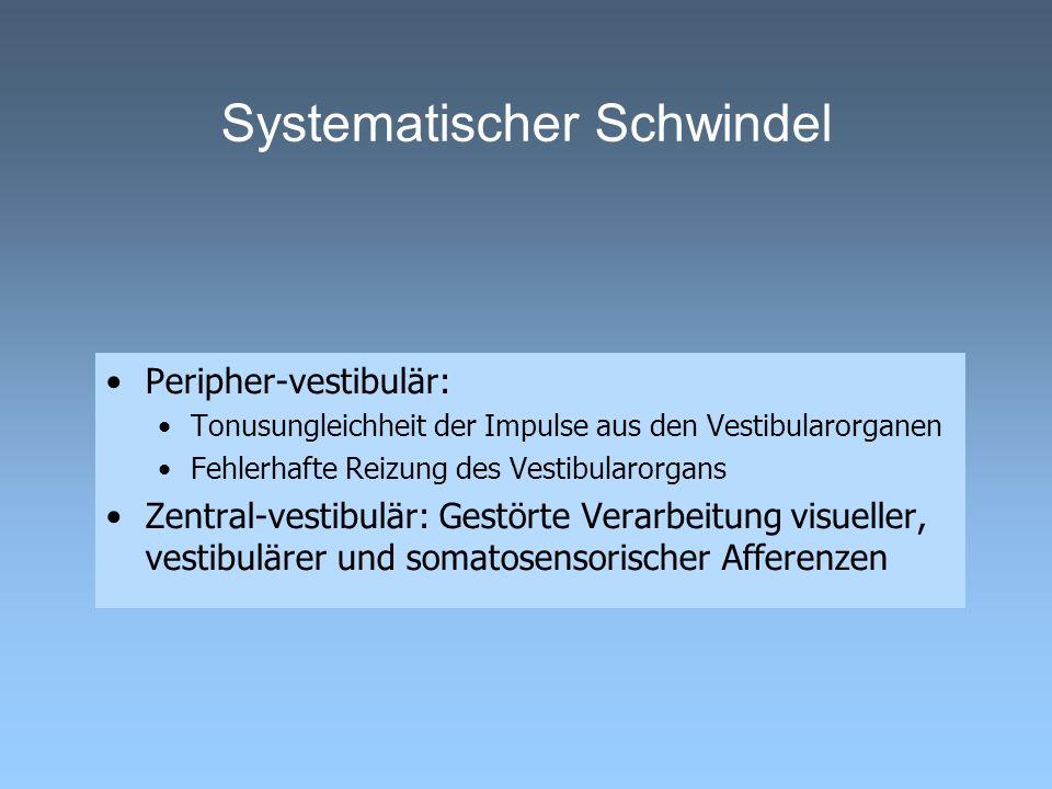Systematischer Schwindel Peripher-vestibulär: Tonusungleichheit der Impulse aus den Vestibularorganen Fehlerhafte Reizung des Vestibularorgans Zentral