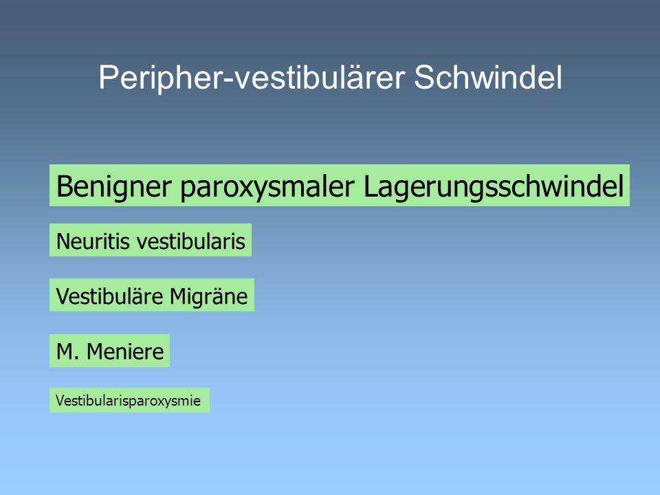 Peripher-vestibulärer Schwindel M. Meniere Vestibularisparoxysmie Neuritis vestibularis Benigner paroxysmaler Lagerungsschwindel Vestibuläre Migräne