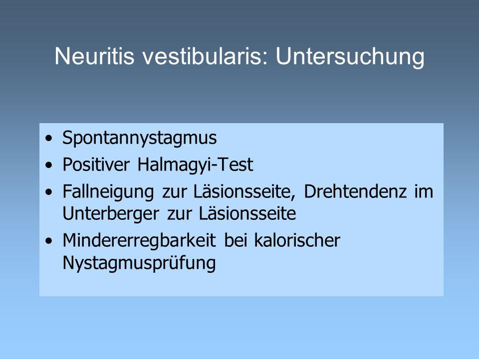 Neuritis vestibularis: Untersuchung Spontannystagmus Positiver Halmagyi-Test Fallneigung zur Läsionsseite, Drehtendenz im Unterberger zur Läsionsseite