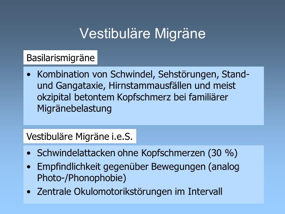 Kombination von Schwindel, Sehstörungen, Stand- und Gangataxie, Hirnstammausfällen und meist okzipital betontem Kopfschmerz bei familiärer Migränebela