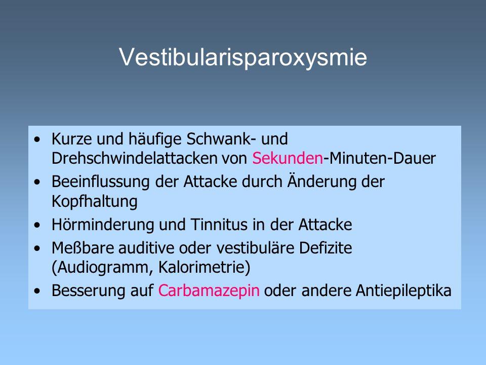 Vestibularisparoxysmie Kurze und häufige Schwank- und Drehschwindelattacken von Sekunden-Minuten-Dauer Beeinflussung der Attacke durch Änderung der Ko