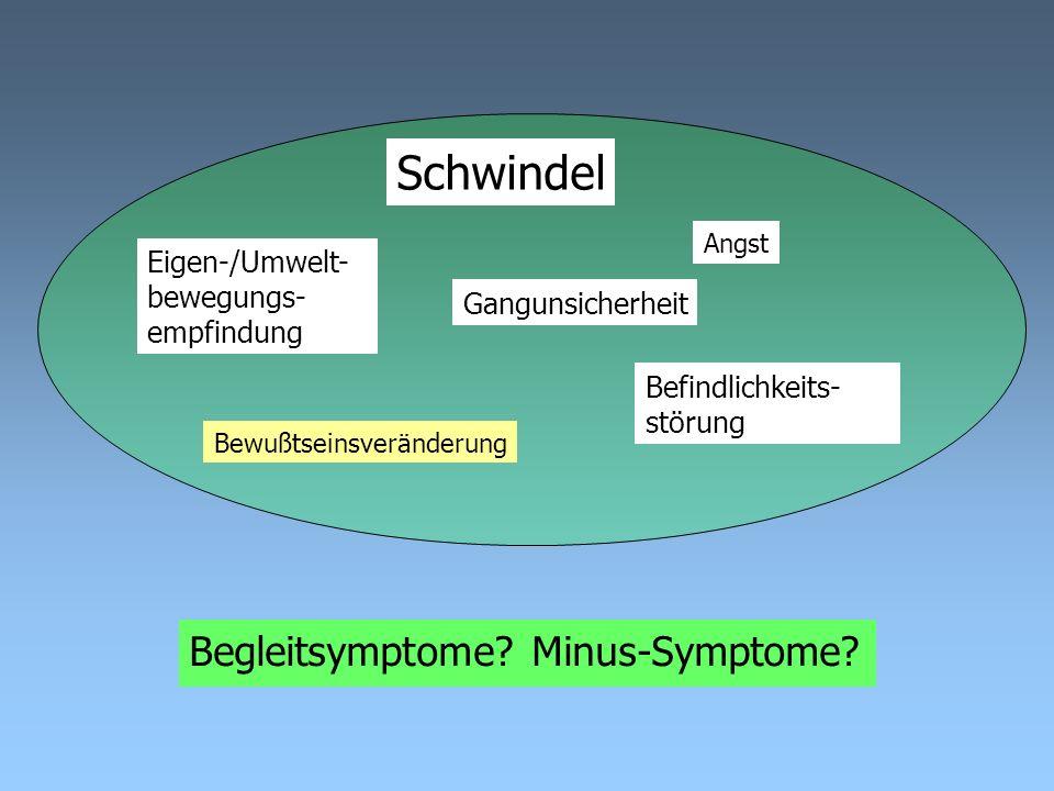 Schwindel Gangunsicherheit Eigen-/Umwelt- bewegungs- empfindung Befindlichkeits- störung Bewußtseinsveränderung Angst Systematisch oder unsystematisch.