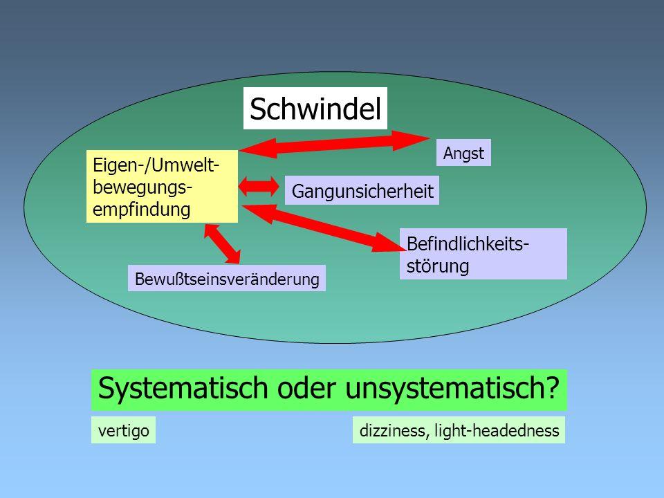 Schwindel Gangunsicherheit Eigen-/Umwelt- bewegungs- empfindung Befindlichkeits- störung Bewußtseinsveränderung Angst Systematisch oder unsystematisch