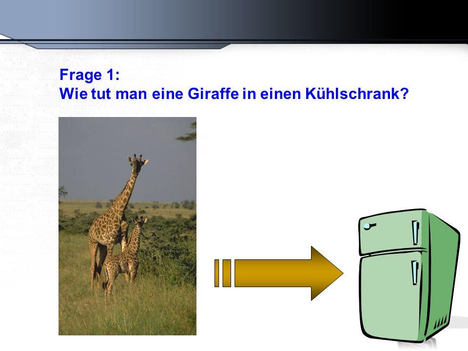 Die richtige Antwort: Öffnen Sie den Kühlschrank, tun Sie die Giraffe hinein, und schließen Sie die Tür.