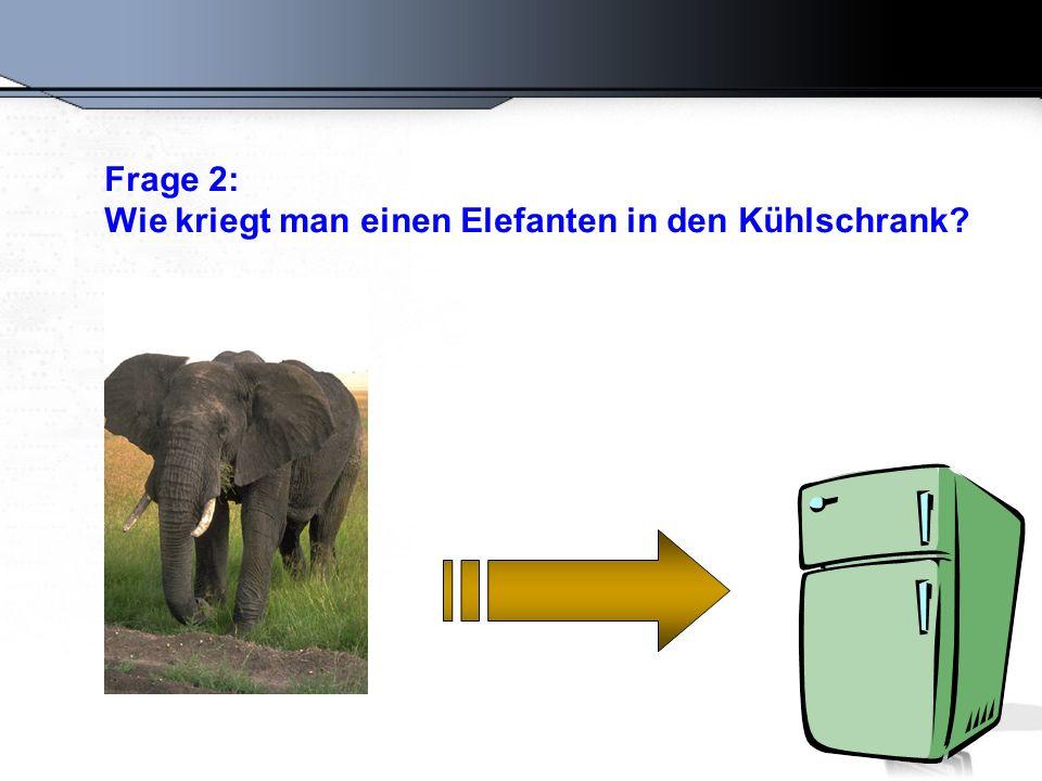 Falsche Antwort: Türe auf, Elefant rein, Tür zu.