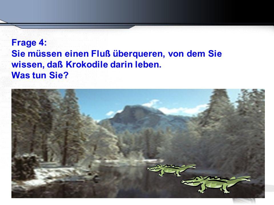 Frage 4: Sie müssen einen Fluß überqueren, von dem Sie wissen, daß Krokodile darin leben. Was tun Sie?