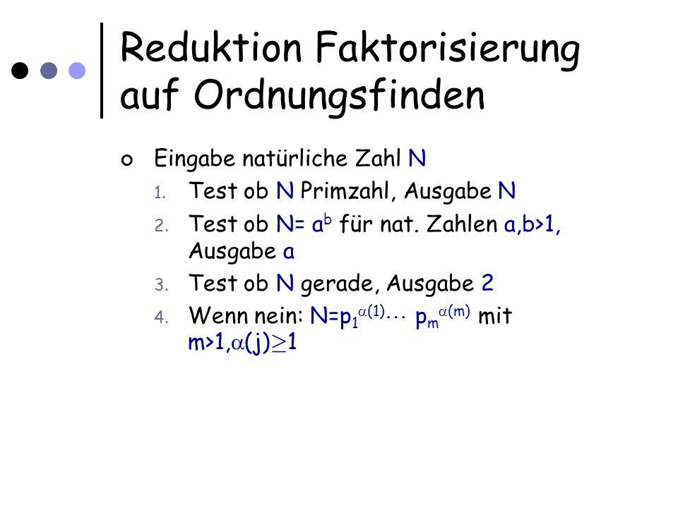 Reduktion Faktorisierung auf Ordnungsfinden Eingabe natürliche Zahl N 1. Test ob N Primzahl, Ausgabe N 2. Test ob N= a b für nat. Zahlen a,b>1, Ausgab
