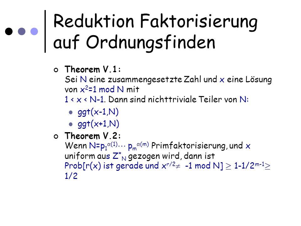 Reduktion Faktorisierung auf Ordnungsfinden Theorem V.1: Sei N eine zusammengesetzte Zahl und x eine Lösung von x 2 =1 mod N mit 1 < x < N-1. Dann sin