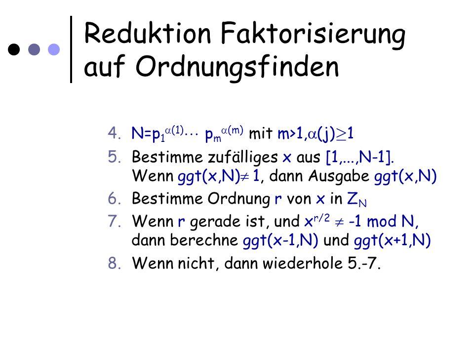 Reduktion Faktorisierung auf Ordnungsfinden 4.N=p 1 (1) p m (m) mit m>1, (j) ¸ 1 5.Bestimme zufälliges x aus [1,...,N-1]. Wenn ggt(x,N) 1, dann Ausgab