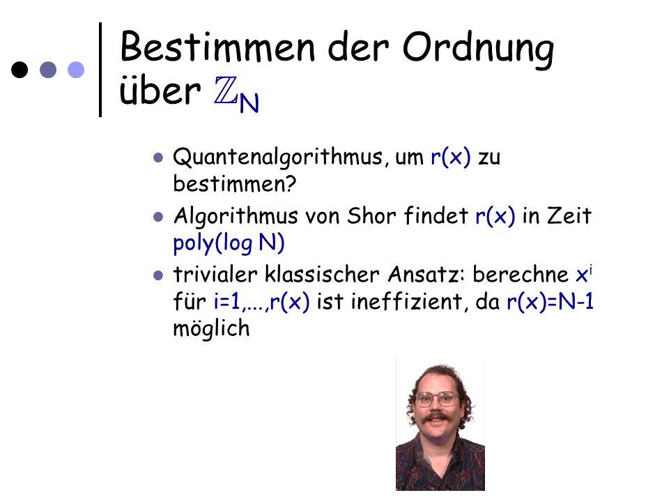 Anwendung eines solchen Algorithmus Faktorisierungsproblem: Gegeben natürliche, zusammengesetzte Zahl N finde einen nichttrivialen Faktor Kann durch einen Algorithmus zur Ordnungsbestimmung gelöst werden !