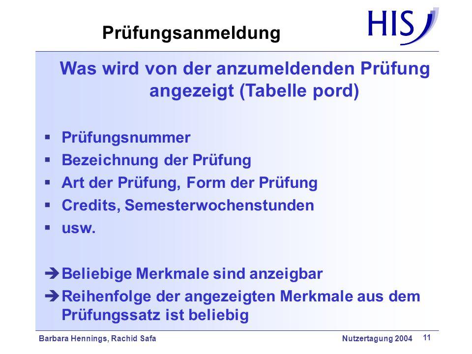 Barbara Hennings, Rachid Safa Nutzertagung 2004 11 Was wird von der anzumeldenden Prüfung angezeigt (Tabelle pord) Prüfungsnummer Bezeichnung der Prüf
