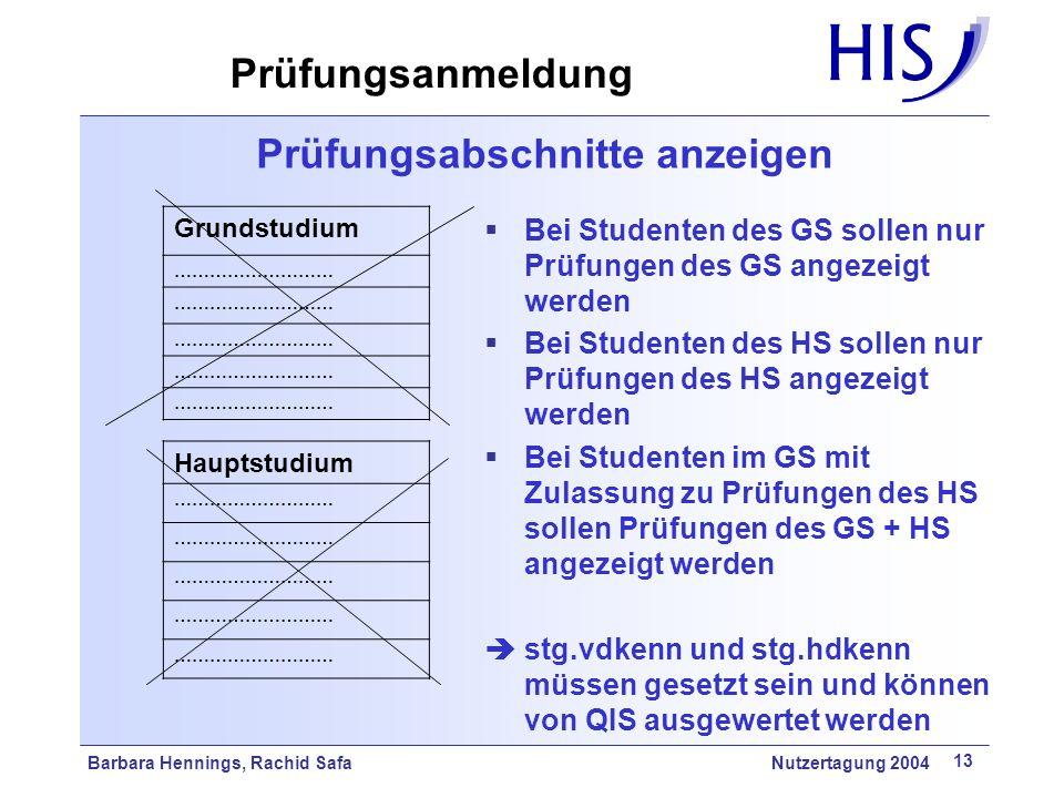 Barbara Hennings, Rachid Safa Nutzertagung 2004 13 Prüfungsabschnitte anzeigen Grundstudium ……………………… Hauptstudium ……………………… Bei Studenten des GS soll