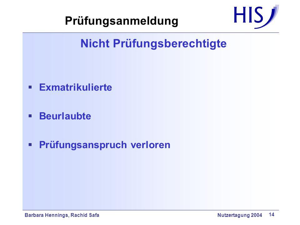 Barbara Hennings, Rachid Safa Nutzertagung 2004 14 Nicht Prüfungsberechtigte Exmatrikulierte Beurlaubte Prüfungsanspruch verloren Prüfungsanmeldung