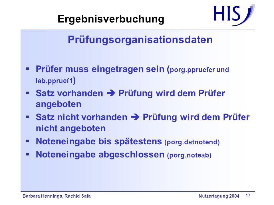 Barbara Hennings, Rachid Safa Nutzertagung 2004 17 Prüfungsorganisationsdaten Prüfer muss eingetragen sein ( porg.ppruefer und lab.ppruef1 ) Satz vorh