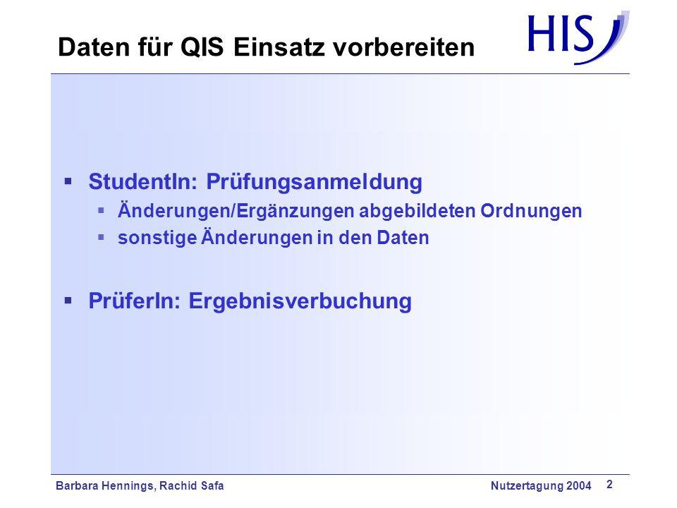 Barbara Hennings, Rachid Safa Nutzertagung 2004 13 Prüfungsabschnitte anzeigen Grundstudium ……………………… Hauptstudium ……………………… Bei Studenten des GS sollen nur Prüfungen des GS angezeigt werden Bei Studenten des HS sollen nur Prüfungen des HS angezeigt werden Bei Studenten im GS mit Zulassung zu Prüfungen des HS sollen Prüfungen des GS + HS angezeigt werden stg.vdkenn und stg.hdkenn müssen gesetzt sein und können von QIS ausgewertet werden Prüfungsanmeldung