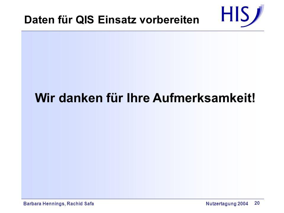 Barbara Hennings, Rachid Safa Nutzertagung 2004 20 Wir danken für Ihre Aufmerksamkeit! Daten für QIS Einsatz vorbereiten