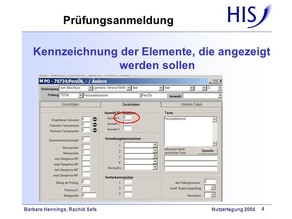 Barbara Hennings, Rachid Safa Nutzertagung 2004 4 Prüfungsanmeldung Kennzeichnung der Elemente, die angezeigt werden sollen