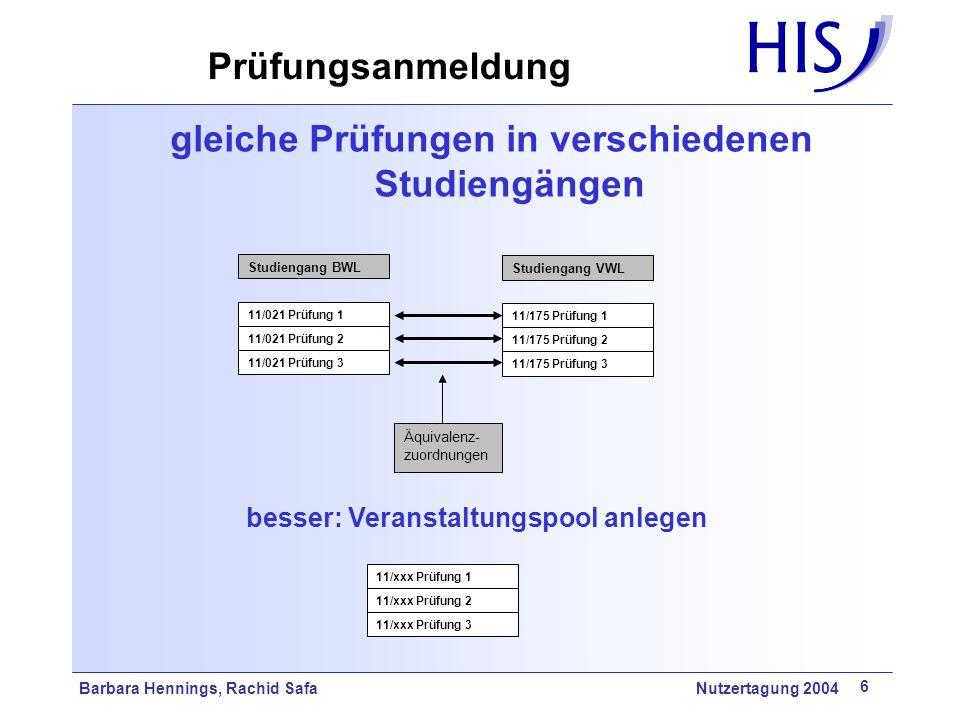 Barbara Hennings, Rachid Safa Nutzertagung 2004 6 gleiche Prüfungen in verschiedenen Studiengängen Studiengang BWL 11/021 Prüfung 1 Studiengang VWL 11