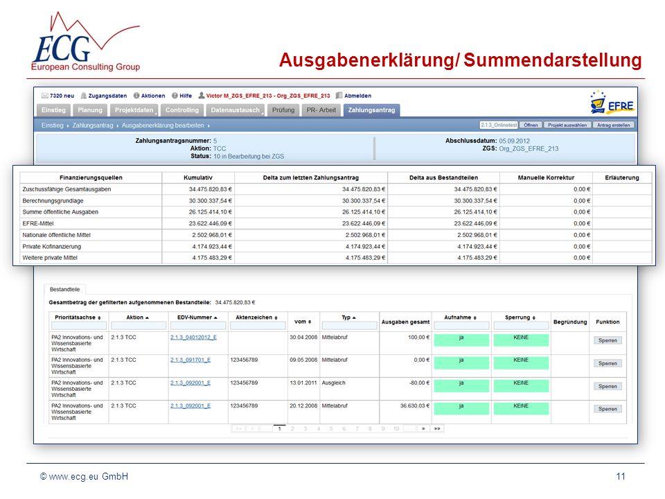 Ausgabenerklärung/ Summendarstellung 11© www.ecg.eu GmbH